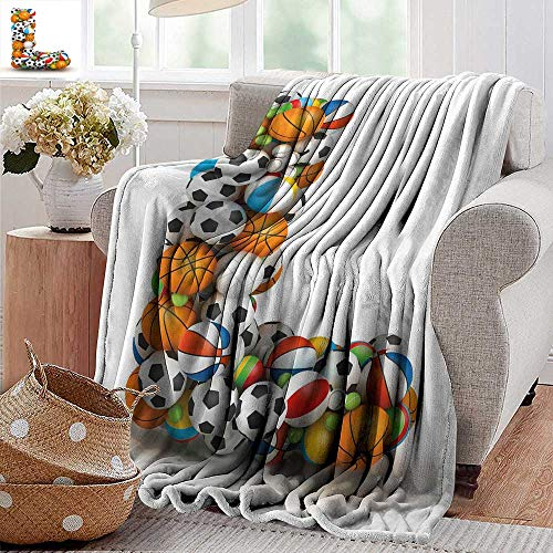 PearlRolan Flannel Throw Blanket,Letter L,Basketball Football Volleyball Tennis Athleticism Teamplay Motivation Theme Print,Multicolor,for Bed & Couch Sofa Easy Care 50