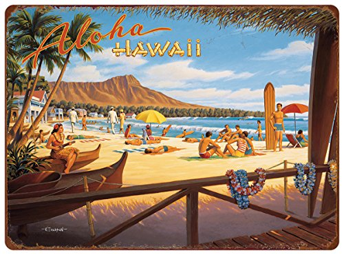 Tin Hawaii (Pacifica Island Art 12in x 16in Vintage Hawaiian Tin Sign - Aloha Hawaii by Kerne Erickson)