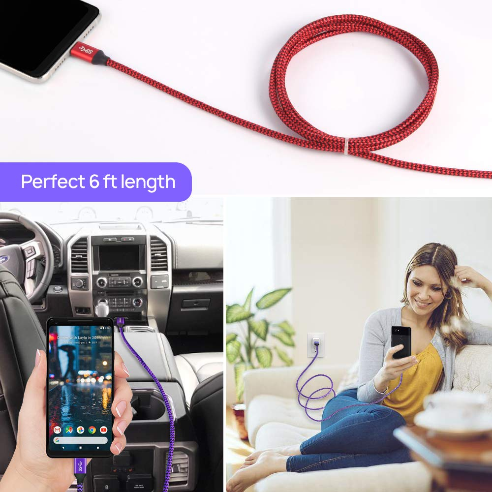 Aomago USB 3.0 Type C Cable, Fast Charging 2 Pack 6FT USB A to USB C Durable 3.1A Nylon Braided Charger Data Transfer Cord Compatible for Samsung Galaxy S10 S9 S8, Note 9 8, Pixel, LG, Nintendo Switch