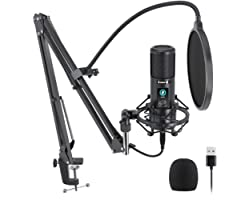 USB Microphone with One-Touch Mute and Mic Gain Knob MAONO Professional Cardioid Condenser Podcast Mic for Online Teaching, M