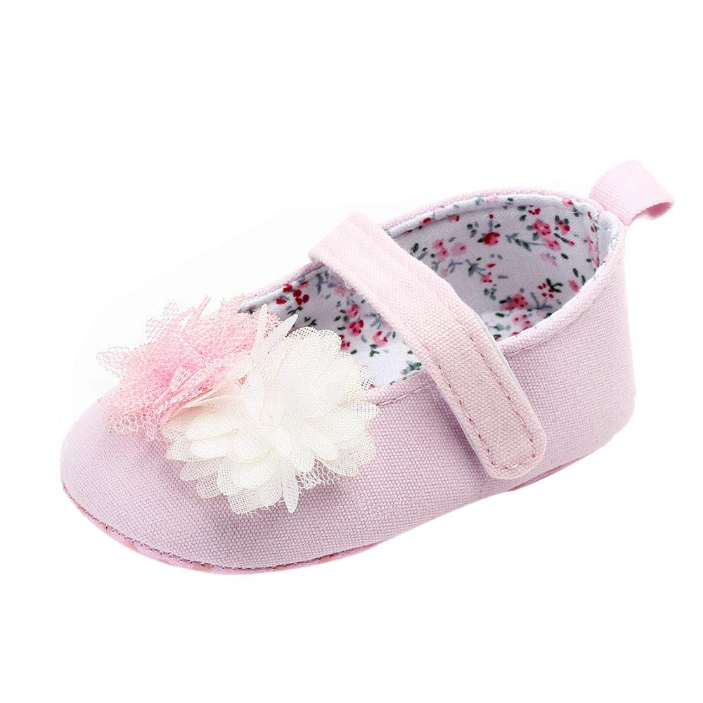NUWFOR Newborn Baby Cute Girls Canvas Flower Single First Walker Soft Sole Shoes(Pink,0-3Months) by NUWFOR (Image #1)