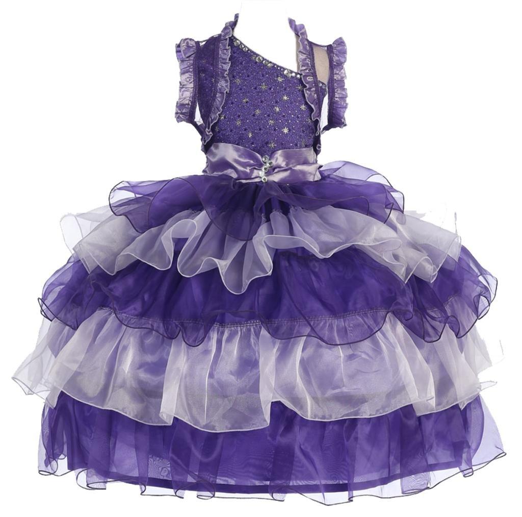 AkiDress One Shoulder Organza Multi Layered Presentation Dress for Little Girl Purple-Silver 4