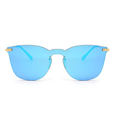 adf8682cdac Rimless Mirrored Sunglasses One Piece Metal Flat Eyeglasses Men Women (Gold    Mirror Blue)  Amazon.co.uk  Clothing