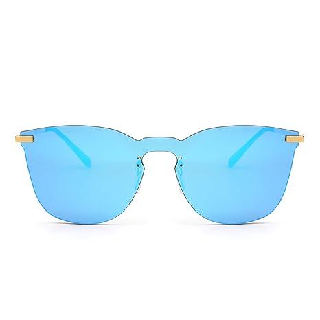 9e101c265b Gafas de Sol de Espejo Sin Marco Una Pieza Metal Plano Anteojos Hombre Mujer (Dorado/Azul Espejo): Amazon.es: Ropa y accesorios
