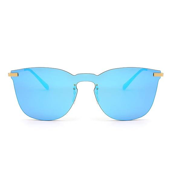 Gafas de Sol de Espejo Sin Marco Una Pieza Metal Plano Anteojos Hombre Mujer