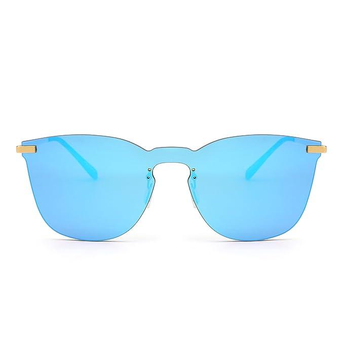 Gafas de Sol de Espejo Sin Marco Una Pieza Metal Plano Anteojos Hombre Mujer(Dorado