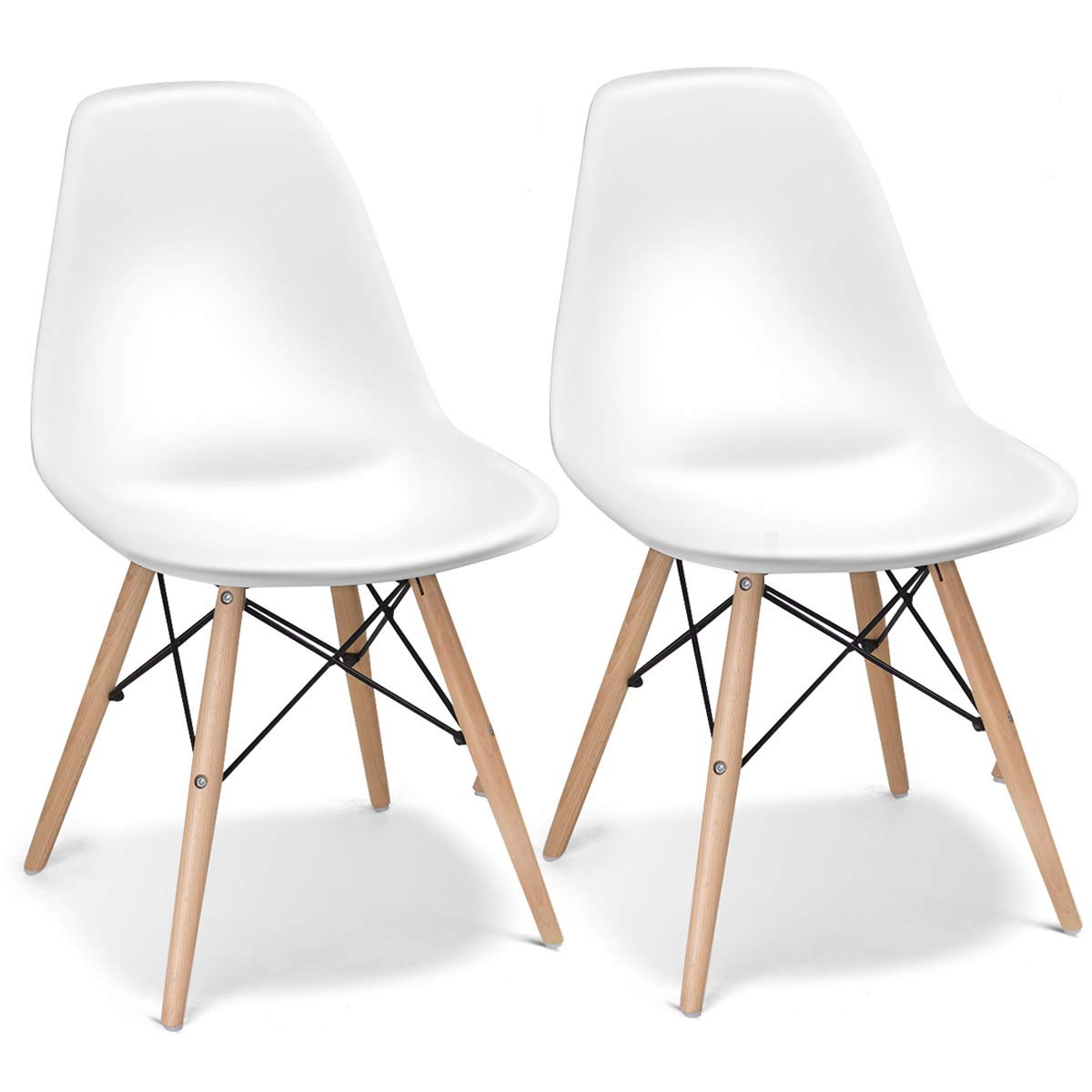 Giantex Set of 2 Mid Century Armless Modern Style Plastic Seat Wood Dowel Legs for Bedroom Accent Living Room DSW Chair, White by Giantex
