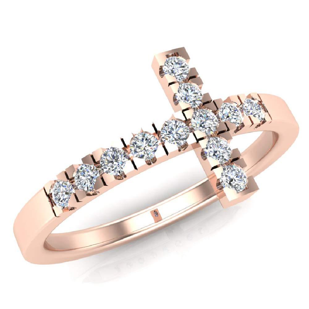 0.24 ct tw Sideways Cross Diamond Ring 14K Rose Gold (Ring Size 9) by Glitz Design