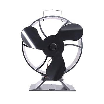 Ventilador de Estufa de 3 Cuchillas Calentador de leña/Estufa de leña/Chimenea Aumenta 80% más de Aire Caliente Que Ventilador de 2 aspas: Respetuoso del ...