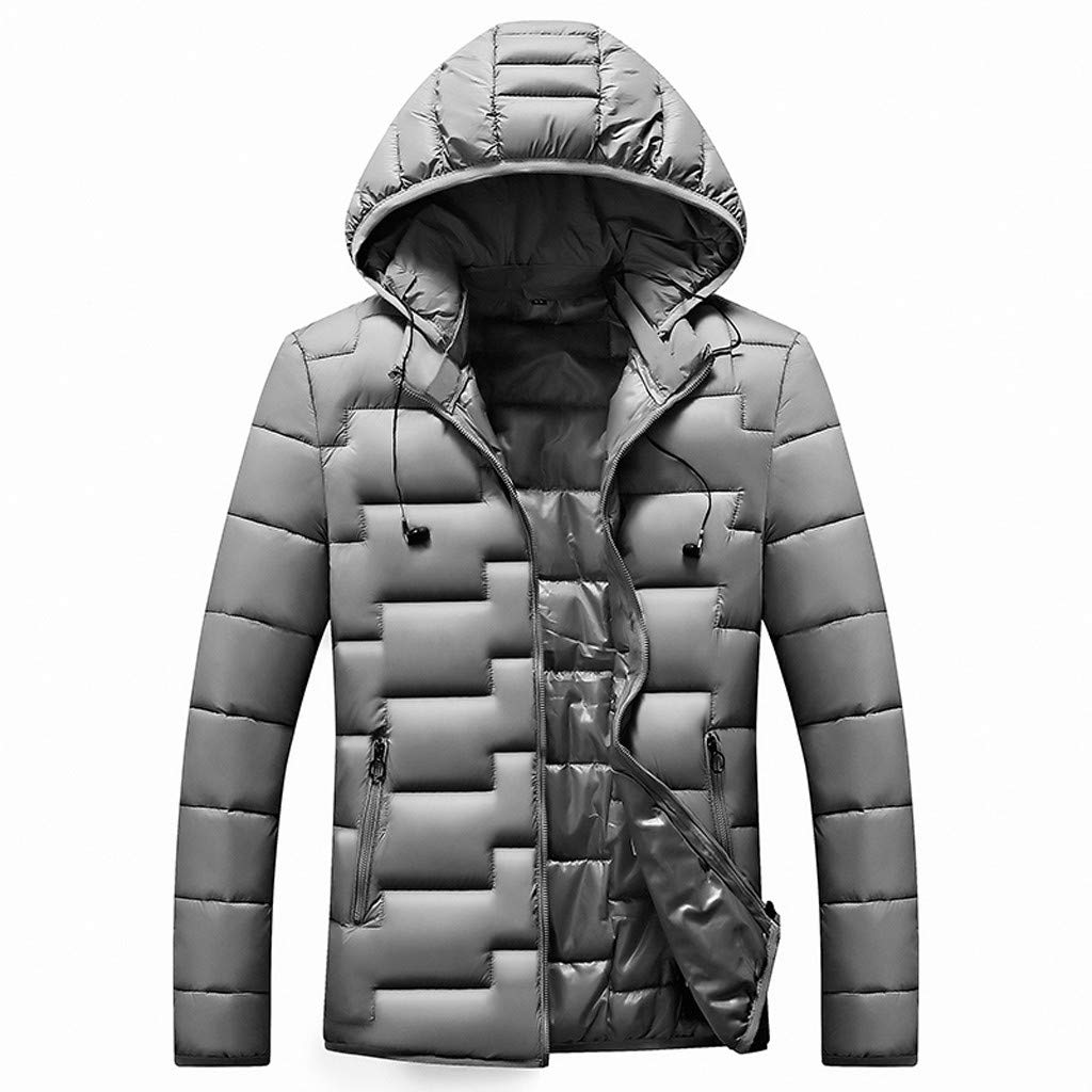 Alalaso Bown Jacket for Men, Men's Winter Warm Down Parka Coat Hood Zipper Hoodies Jacket Gray by Alalaso