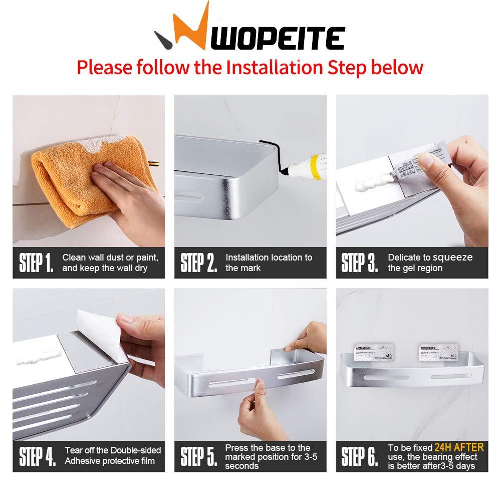 Wopeite Estante de baño cuadrado, Cesta de ducha, Organizador de pared para cocina, Aluminio espacial, Instalación sin taladro, Sin daños, ...