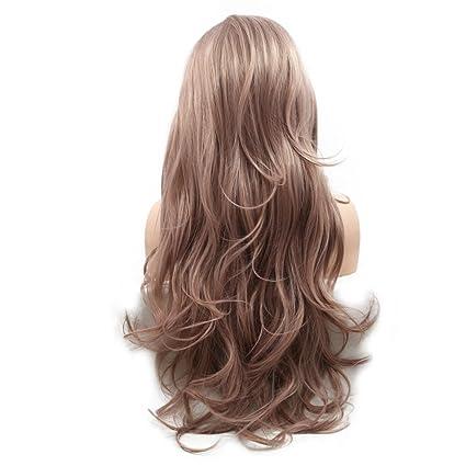 Peluca de cabello natural de color lavanda y pelo sintético, parte lateral hecha a mano con ...