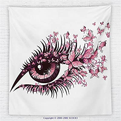 59 x 59 Inches Butterflies Decoration Fleece Throw Blanket Female Eye with Butterflies Eyelashes Mascara Stare Makeup Party Celebration Blanket