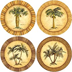 """CoasterStone AS1990 Absorbent Stone Coasters,""""Palm Trees"""", Multi-Colored"""
