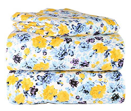 AM Home Fashion Piece 100% Soft Flannel Cotton Bed Sheet Set - Queen/King Size - Patterned Bedding Covers - 1 Flat Sheet, 1 Fitted Sheet, 2 Pillow Cases - Fade Resistant Designs, (Floral, King)
