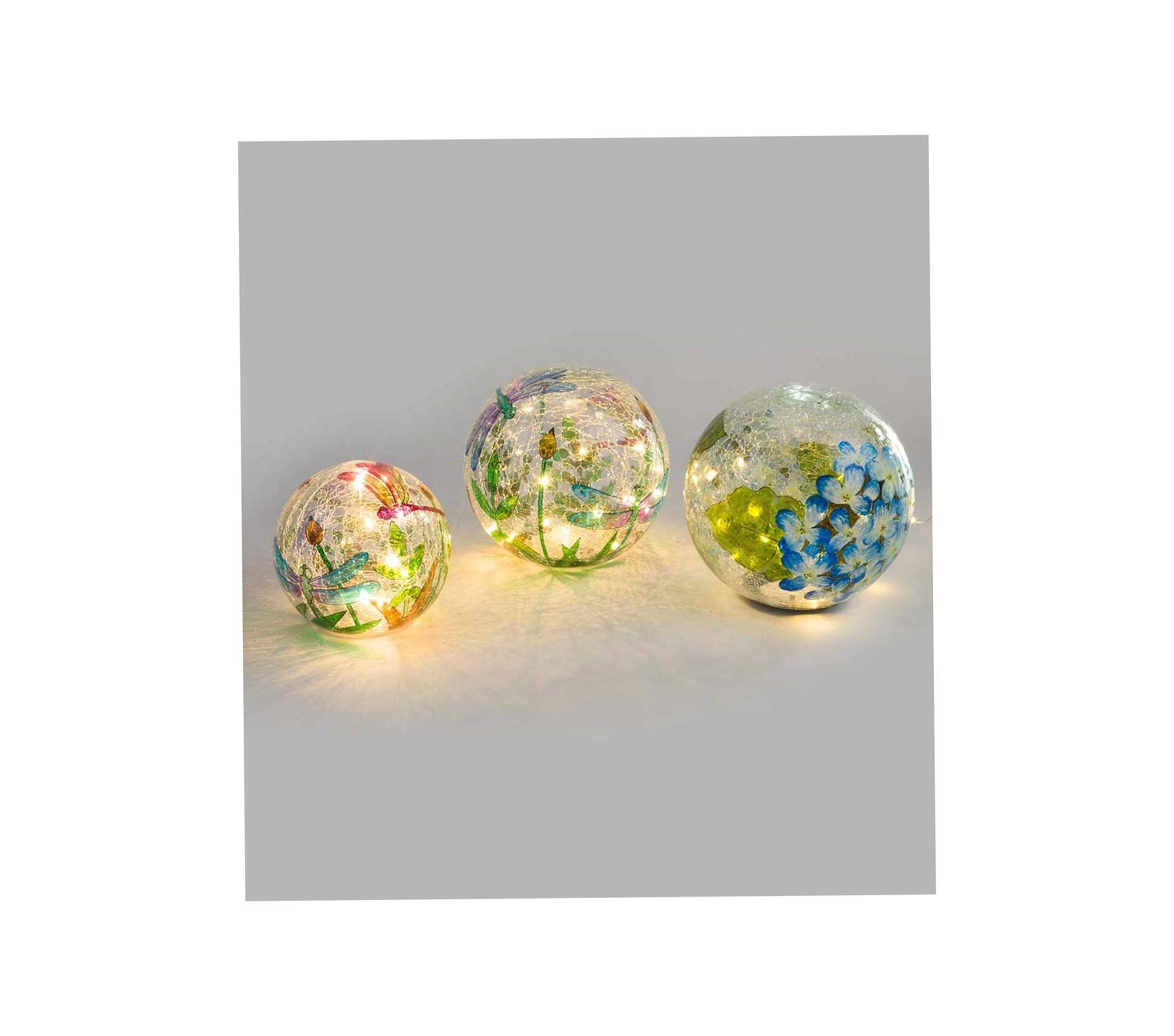 Outdoor Garden Backyard Décor Crackle-Glass Balls, Set of 3 Yard Art, Multi-Colored