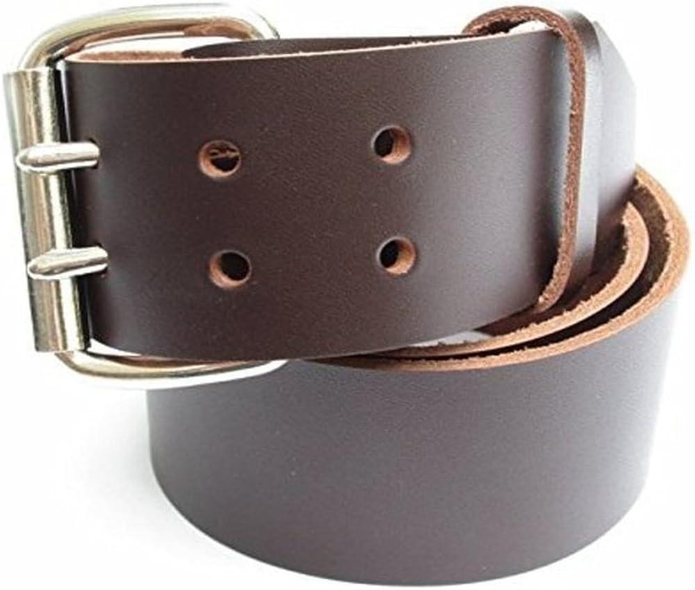 Mens Heavy Duty Dark Chocolate Brown Leather Belt 2 Wide