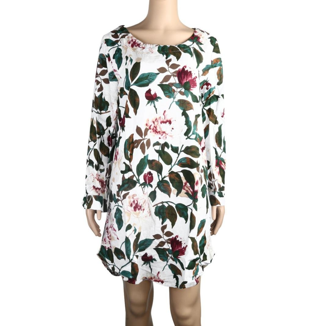 Leewos Clearance! Plus Size Dresses, Women Floral Printed ...
