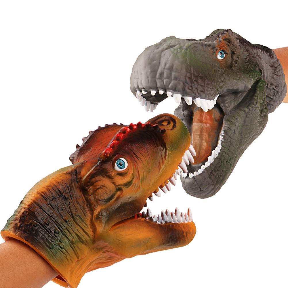 JoyJon Dinosaur Hand Puppet Soft Rubber Realistic Spines Dragon Dinosaur Tyrannosaurus Toy for Kids Adult Hallowmas