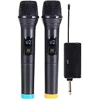 Queenser Microfone Karaokê Profissional UHF Dual Channel Dinâmico Sem Fio Microfone Portátil Sem Fio Portátil com…