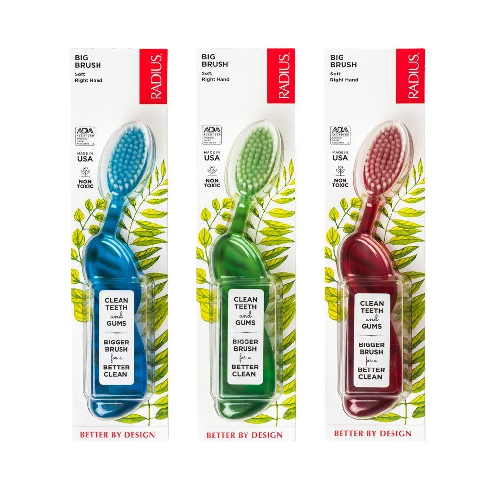 Radius Toothbrush Big Brush For Right Hand 6 Pack (Assorted)