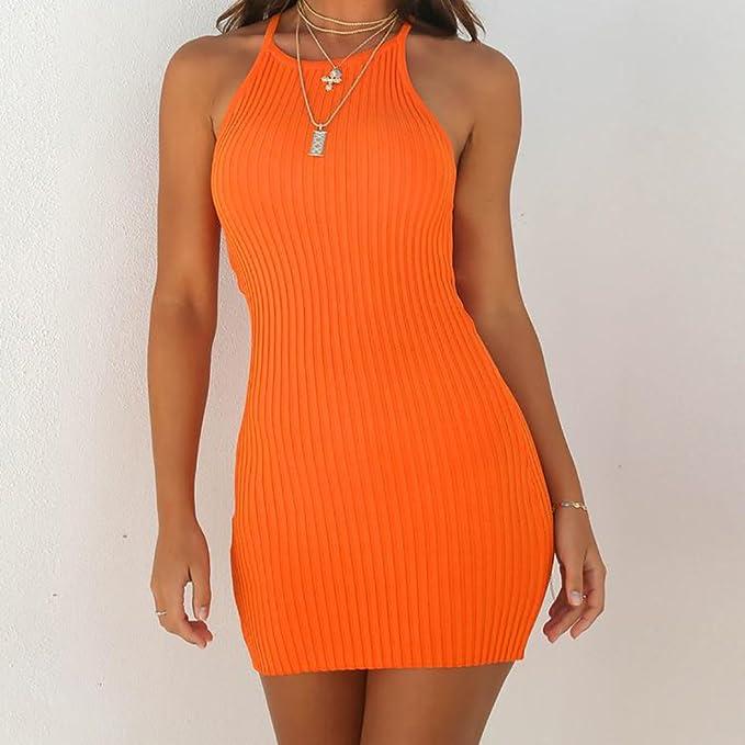 YEBIRAL Vestidos Mujer,Mini Slim Fit Jersey Vestido de Fiesta Sin ...