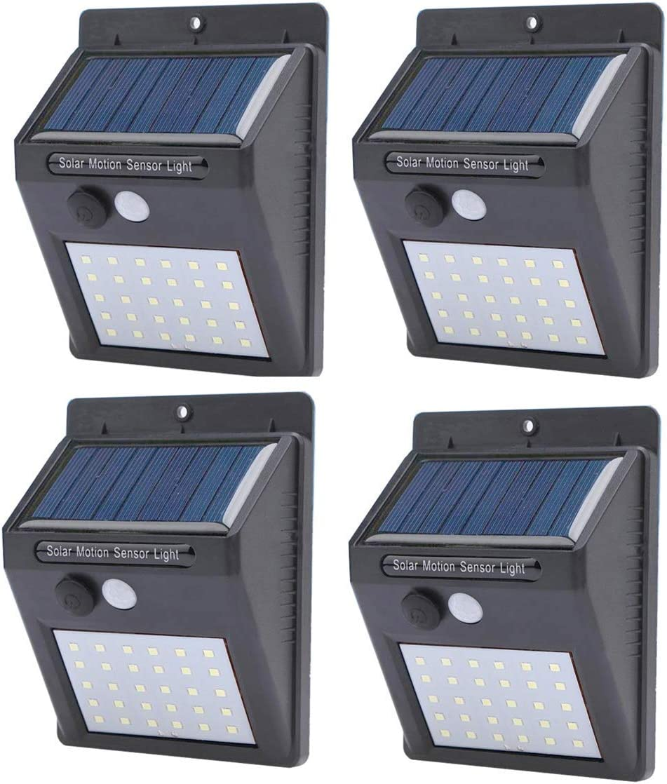 Solar Motion Sensor Lights Outdoor 3 Working Modes LED Wireless Rechargeable Water Proof Fence Lights, Garage, Patio, Fence 4 Pack by InnoTechSolutions