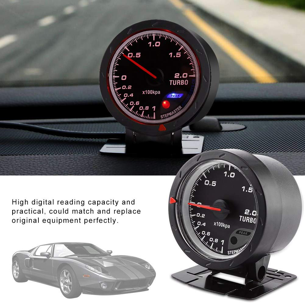 Universal 60mm LED Turbo Boost Meter Gauge Black Shell for Auto Racing Car 0-200 Kpa Madezz Turbo Boost Gauge