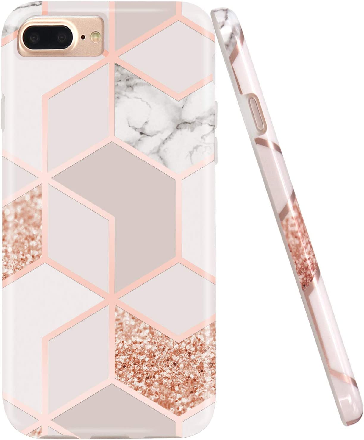 JAHOLAN Stylish Shiny Rose Gold Marble Design Clear Bumper TPU Soft Rubber Silicone Phone Case Compatible with iPhone 7 Plus/8 Plus/6 Plus/6S Plus