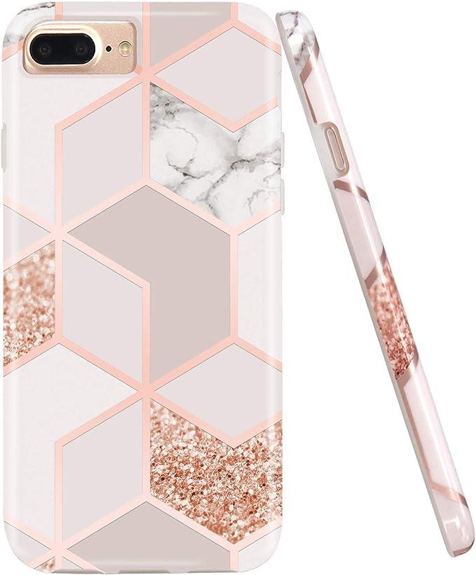 Jaholan Coque iPhone 7 Plus Bling Glitter Sparkle Rose Gold Marbre Design Coque TPU Gel Housse Etui Protection Ultra Fine Mince Léger Case Souple ...