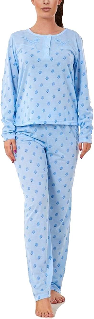i-Smalls Ladies Pyjama Set Floral Ultra Soft Cotton with Lilac Eye Mask