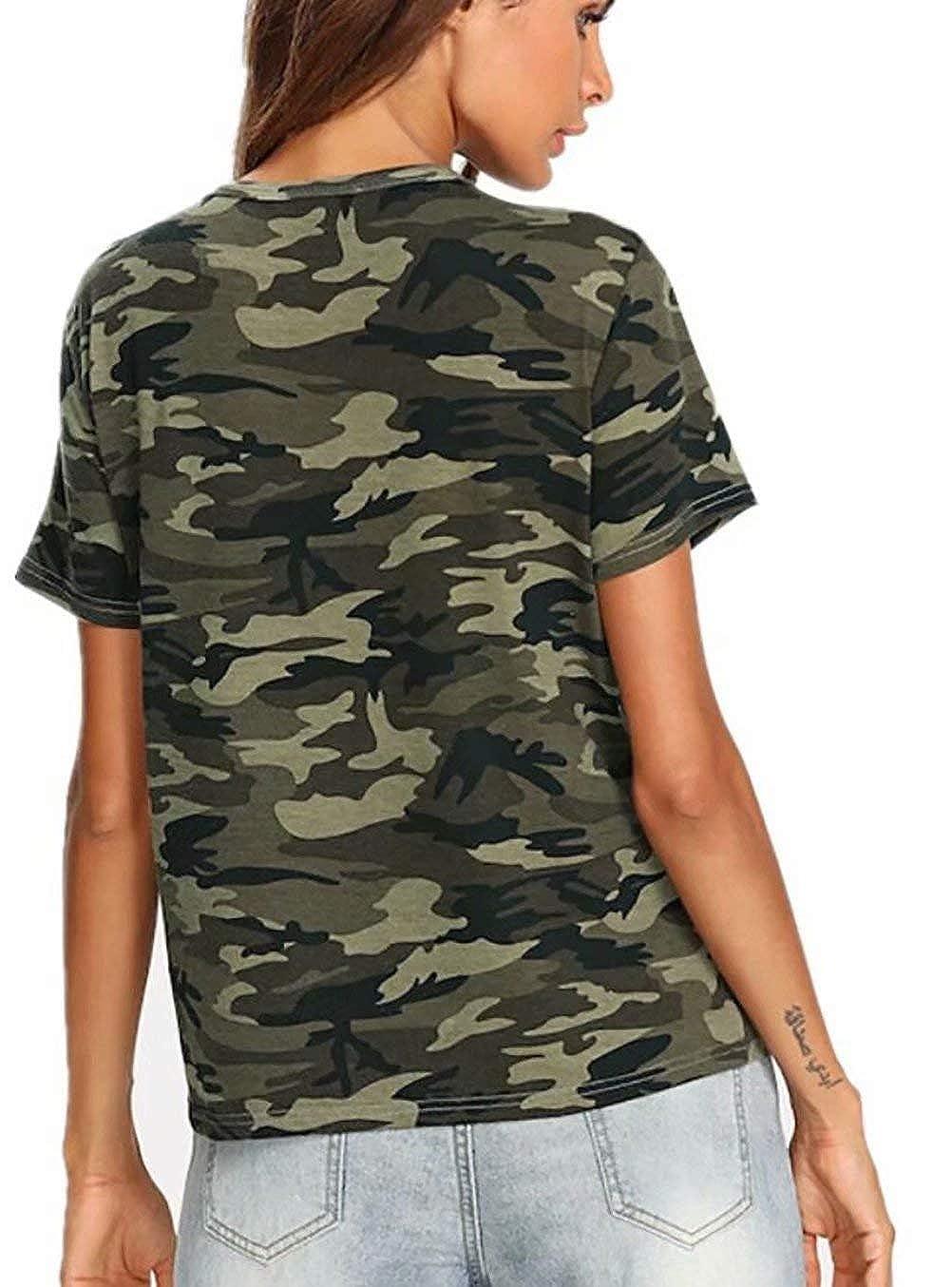 Amazon.com: Camo camiseta de encaje para mujer con estampado ...