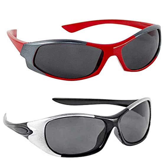 Buy Trendmi Wrap Around Sports Unisex Kids Sunglasses Goggles Wrap Around  Boy's and Girl's Sports Kids Sunglasses - Combo of 2 (3-6 Years, Red,  Black) at Amazon.in