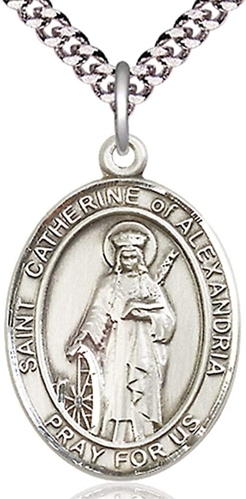USA Made Heartland Store Mens Pewter Oval Saint Catherine of Alexandria Medal Chain Choice