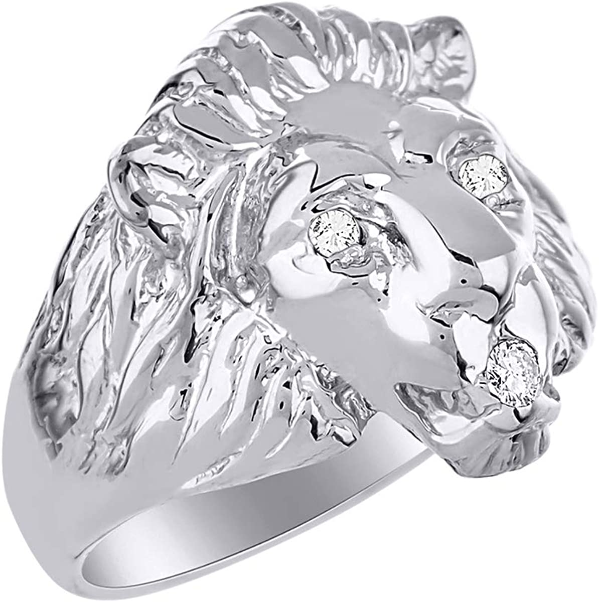 Lion Head Ring set with Genuine Diamonds in Mouth and Eyes set in Sterling Silver .925