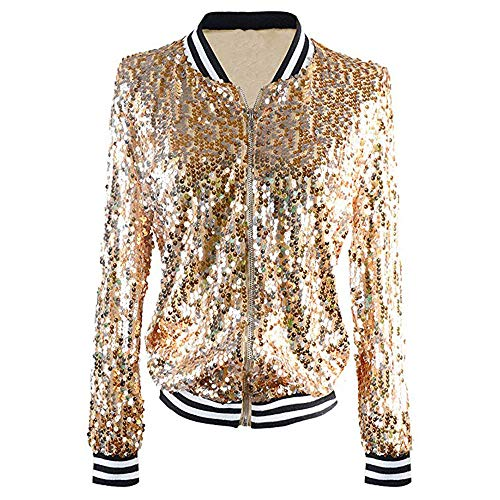 (Sannysis Zip Up Jacket Women, Womens Fashion Sequin Long Sleeve Front Zip Jacket with Ribbed Cuffs Coats (Yellow, S))