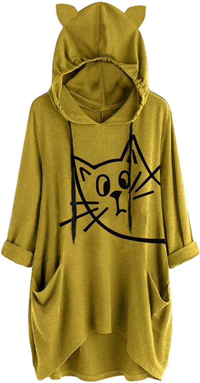 Photno Womens Cute Cat Ears Hooded Blouse Solid Pocket Pullover Plus Size Casual Loose Tops Sweatshirt