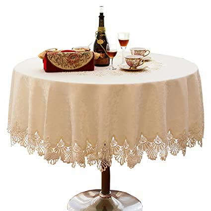 Superieur Ustide 69u0026quot; Round Lace Tablecloth Off White Jacquard Table Overlays For  Dinning Table