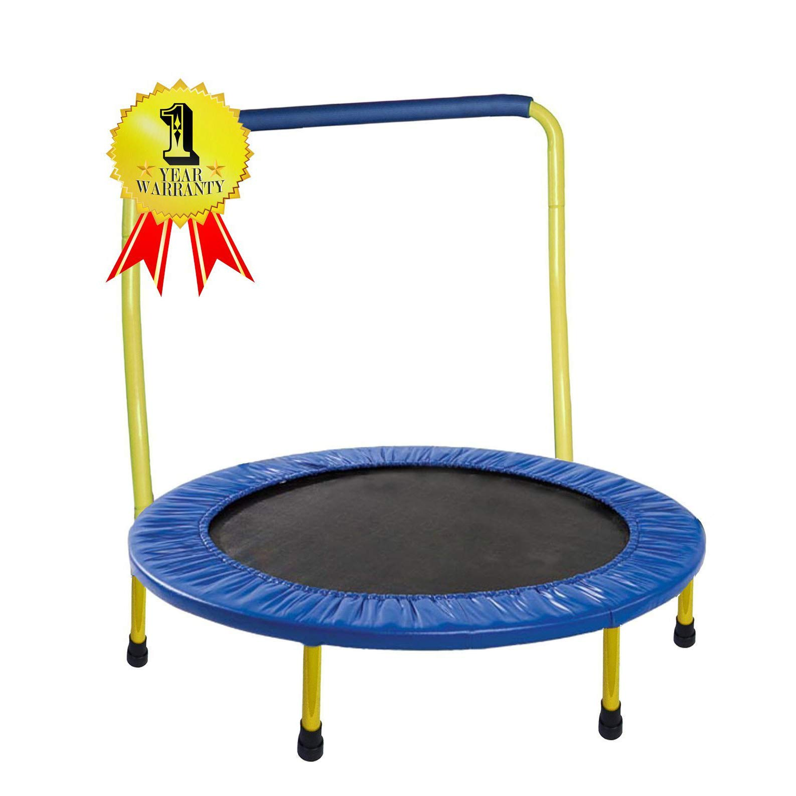 JumJoe Kids Trampoline - 36 inch, with Handle bar, Safety, Portable - 1 Year Warranty. (Yellow) by JumJoe