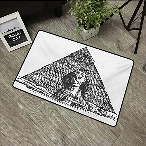 Interior mat W24 x L35 INCH Egyptian,Sketch Art of Sphinx and the Pyramid Old Ancient Empire Historical Icon,Charcoal Grey White Natural dye printing to protect your baby's skin Non-slip Door Mat Carp ()