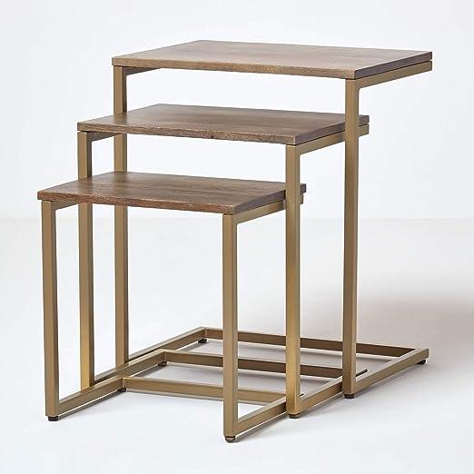 Homescapes - Mesas nido de madera maciza y acero inoxidable Urban ...