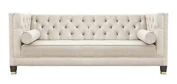 Belle Fierte Beige Cream Elegant 2 Seater Studded Velvet