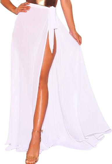 JLTPH Mujer Falda Larga Pareo Boho Split Color Sólido Maxi Falda ...