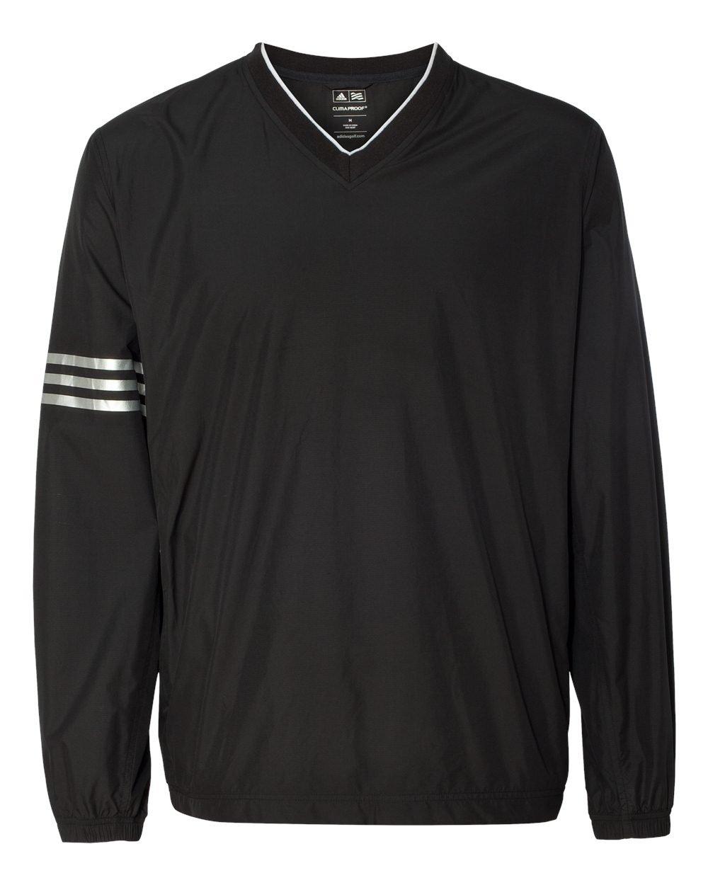 アメリカ版モデルadidas(アディダス)ゴルフクライマプルーフClimaProofウィンドカラーブロックVネックウィンドシャツA147 [並行輸入品] B01CBBT66O US Mサイズ 黒黒(ブラックブラック) 黒黒(ブラックブラック) US Mサイズ