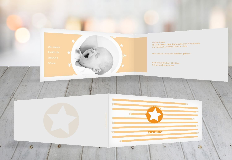 Kartenparadies Danksagung für Geburt Baby Dankeskarte a new star, hochwertige Danksagungskarte Baby inklusive Umschläge   100 Karten - (Format  215x105 mm) Farbe  Hellbraun B01N9XDWOJ | Genial  | Exquisite (mittlere) Verarbeitung  | Hohe Siche