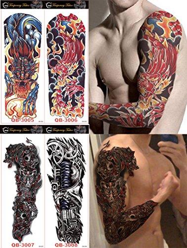 DaLin 4 Sheets Extra Large Temporary Tattoos, Full Arm (Set 2) Full Tattoo