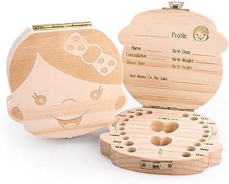 Caja para Guardar Dientes de Beb/é para Ni/ño y Ni/ña Almacenaje Madera de Souvenir Teeth Box resistente y segura Dientes de Leche de Madera Caja de Recuerdos Ballery Caja de dientes beb/és
