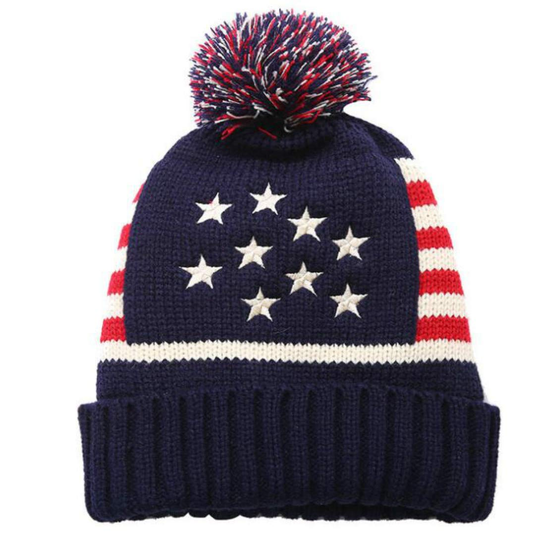 ZPAYFSDS Red White and Blue Patriotic American Flag Cuffed Beanie Cap USA Cuffed Knit Skull Cap