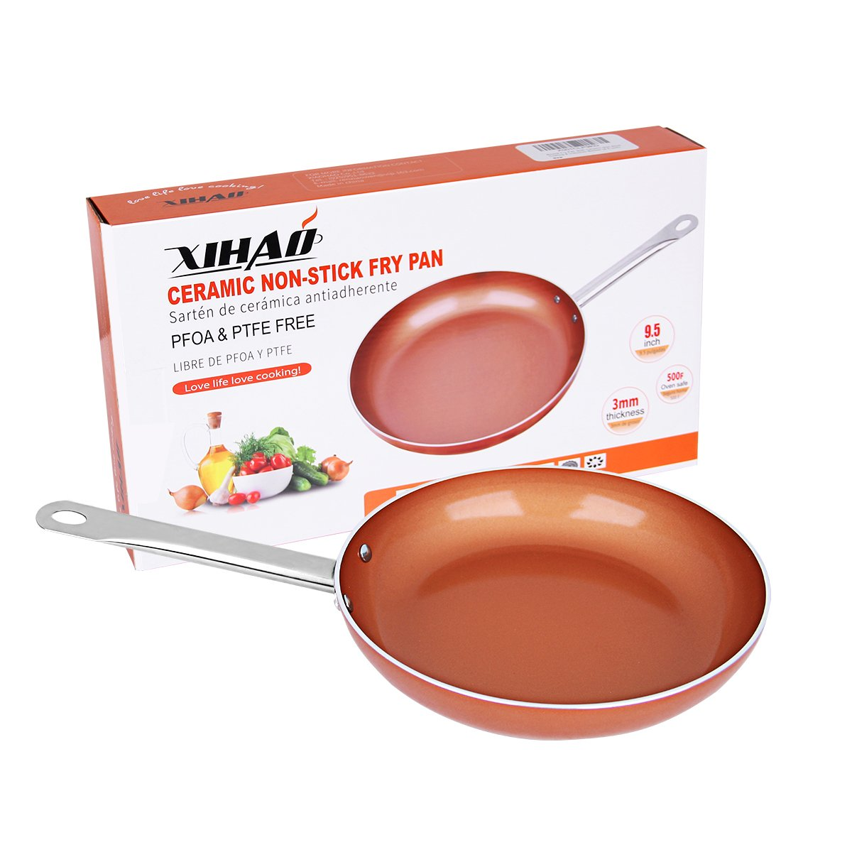 Skillet Frying Pan Copper Ceramic Nonstick 9.5 Inch Induction Bottom XIHAO Oven Safe Dishwasher Safe Aluminum Chef Cookware Fry Pan