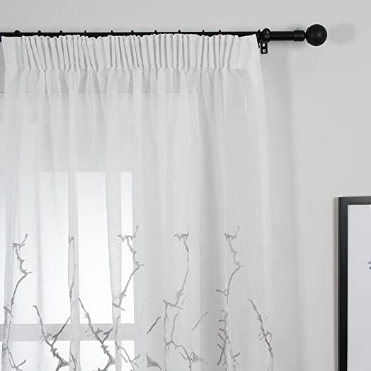 Top Finel Embroidered Branches Window Voile Net Curtains Lined Sheer Curtain  Panels For Living Room, Part 66